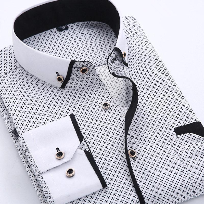 [해외]2017 남성 캐주얼 긴 Retail 프린트 셔츠 슬림 피트 남성 사회 복장 셔츠 브랜드 남성 의류 부드러운 편안한/2017 Men Fashion Casual Long Sleeved Printed shirt Slim Fit Male Social Business