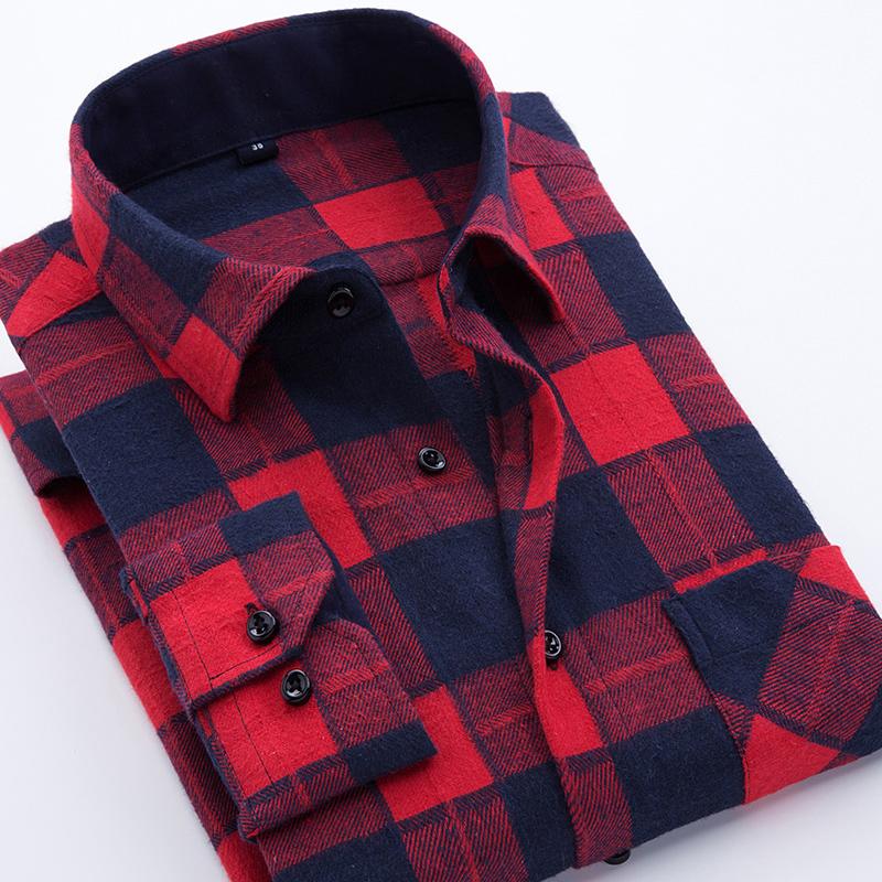 [해외]남자 플란넬 체크 무늬 셔츠 코튼 2017 봄 가을 캐주얼 긴팔 셔츠 부드러운 컴포트 슬림 피트 스타일 브랜드 남자 옷/Men Flannel Plaid Shirt Cotton 2017 Spring Autumn Casual Long Sleeve Shirt Soft