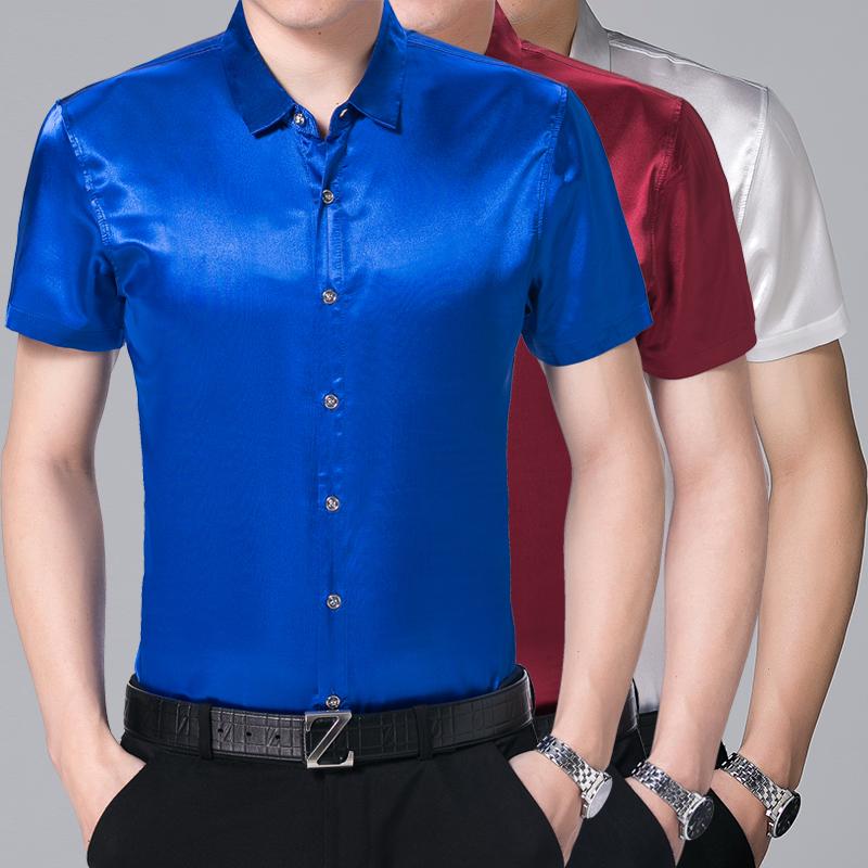 [해외]?남성 짧은 Retail 실크 셔츠 2017 여름 남성 셔츠 순수한 색 부드러운 새틴 실크 드레스 셔츠/ male short sleeve silk shirt 2017 summer men shirts pure color soft satin silk dress sh