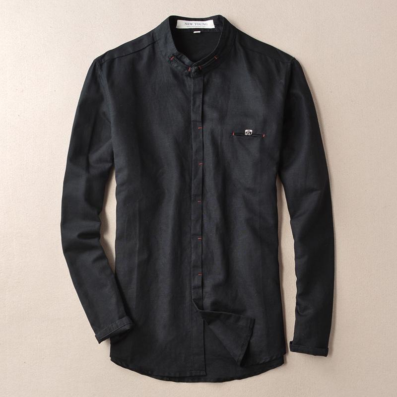 [해외]WMSHUO 2018 코튼 린넨 셔츠 남성 화이트 블랙 캐주얼 셔츠 긴 Retail 만다린 칼라 패션 남성 의류 아시아 크기 Y016/WMSHUO 2018 Cotton Linen Shirts Man White Black Casual Shirts Long Slee