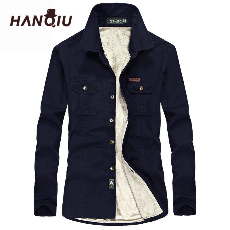 [해외]HANQIU 겨울 따뜻한 셔츠 남자 긴 Retail 가을 겨울 남자 코트 플란넬 두꺼운 드레스 셔츠 패션 품질 양털 남자 셔츠/HANQIU Winter Warm Shirts Men Long Sleeve Autumn Winter Men Coat Flannel Th