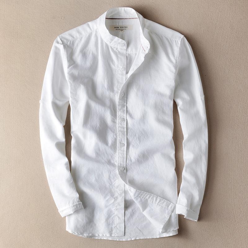 [해외]2018 년 봄 신작 캐주얼 린넨 셔츠 슬림 피트 소프트 통기성 리넨 셔츠 긴팔 스탠드 칼라 XXXL 남성 트렌디 한 옷/2018 New Spring Mens Casual Linen Shirts Slim Fit Soft Breathable Linen Shirt