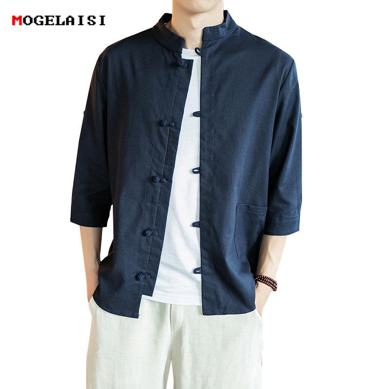 [해외]린넨 코 튼 남자 셔츠 플러스 마스터 의류 플러스 5XL 3 Quater 슬리브 플록 셔츠 솔리드 포켓 슬림 레트로 셔츠 남성 크기 M-5XL/Linen Cotton Men Shirt Master Clothing Plus 5XL Three Quater Sleev