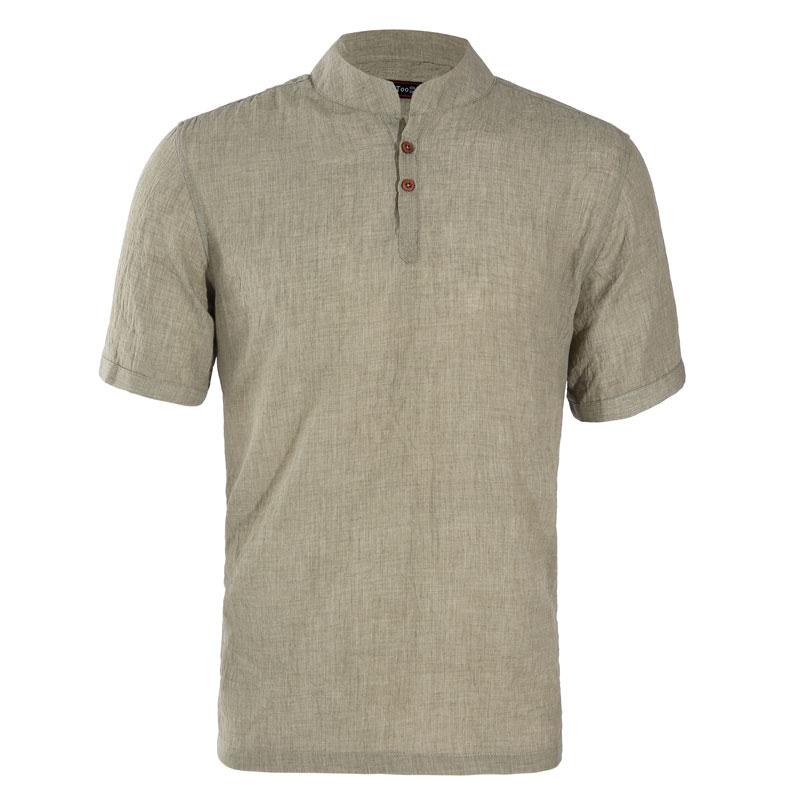 [해외]Jeetoo Brand 새로운 단색 셔츠 남성용 일반용 반Retail 슬림 피트 망 남성 의류 리넨 남성 셔츠 캐미어 Camisa Masculino 2018/Jeetoo Brand New Solid Shirt Men Regular Short Sleeve Slim