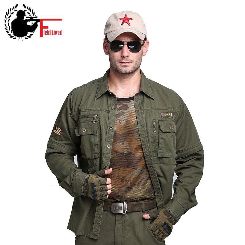 [해외]2017 망 육군 셔츠 밀리터리 버튼 칼라 멀티 포켓 100 코튼 캐주얼 셔츠 남성화물 긴 Retail 분리형 플러스 큰 크기/2017 Mens Army Shirt Military Button Collar Multi Pocket 100 Cotton Casual