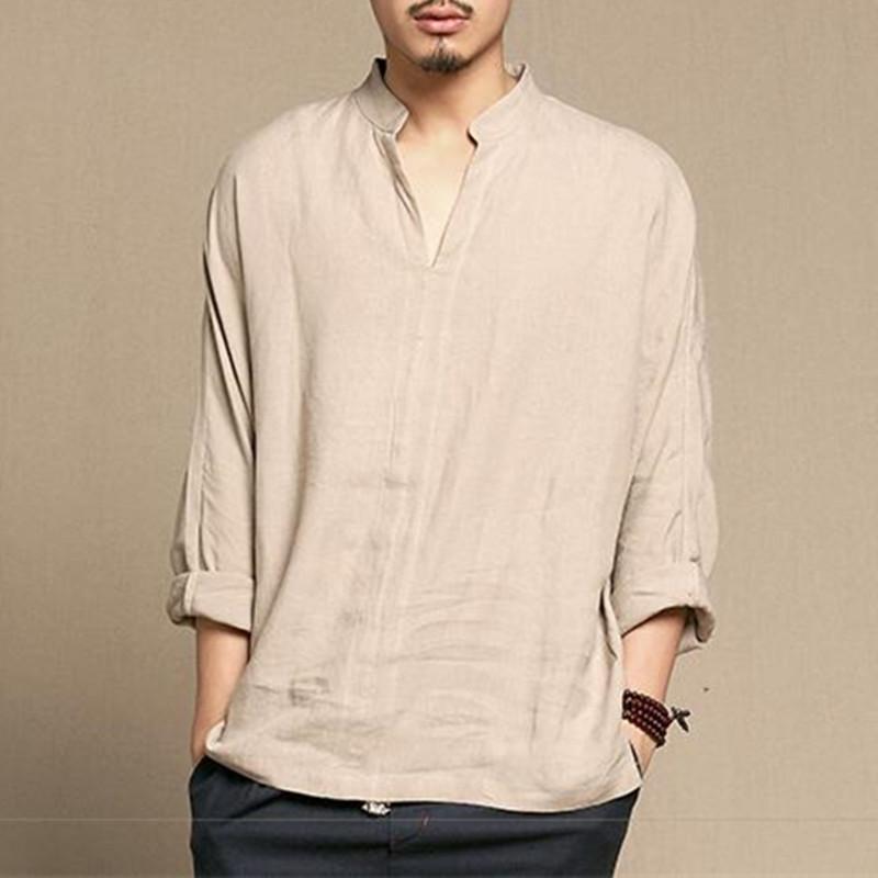 [해외] 스타일 리넨 셔츠 남성 캐주얼 통기성 부드러운 긴팔 캐주얼 셔츠 빈티지 레트로 의류 Hombre 2018 New Spring/Chinese Style Linen Shirt Men Casual Breathable Soft Long Sleeve Casual Shi