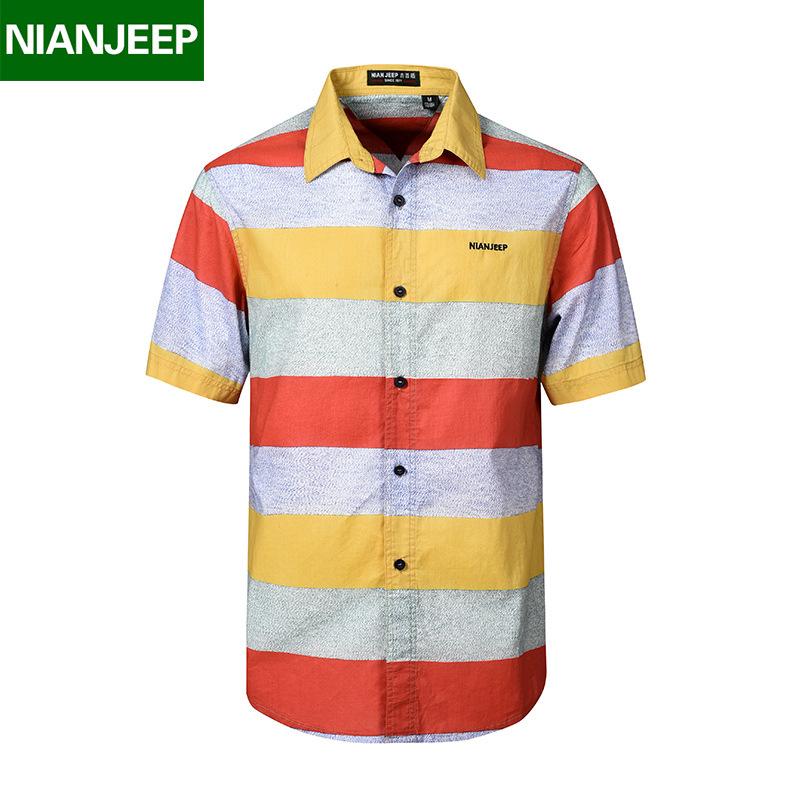 [해외]NIANJEEP Shirt 남성 새 여름 캐주얼 남성 및 s 단색 반Retail 셔츠 남성 100 % Cotton Breathable Chemise Loose Army Shirt/NIANJEEP Shirt Men New Summer Casual Men&s Sol