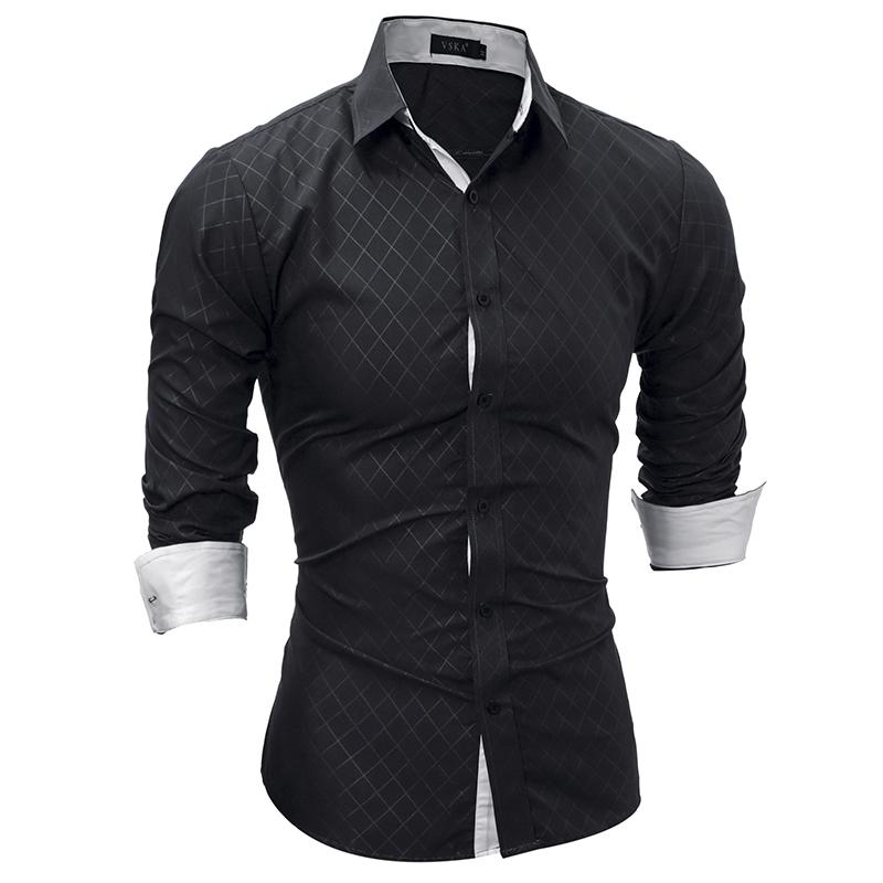[해외]브랜드 2018 뉴 긴 Retail 드레스 남자 셔츠 격자 무늬 셔츠 남성 캐주얼 패션 망 셔츠 슬림 피트 격자 무늬 셔츠 XXL 022 크기/Brand 2018 New Long Sleeve Dress Men Shirts Plaid Shirts Male Casu