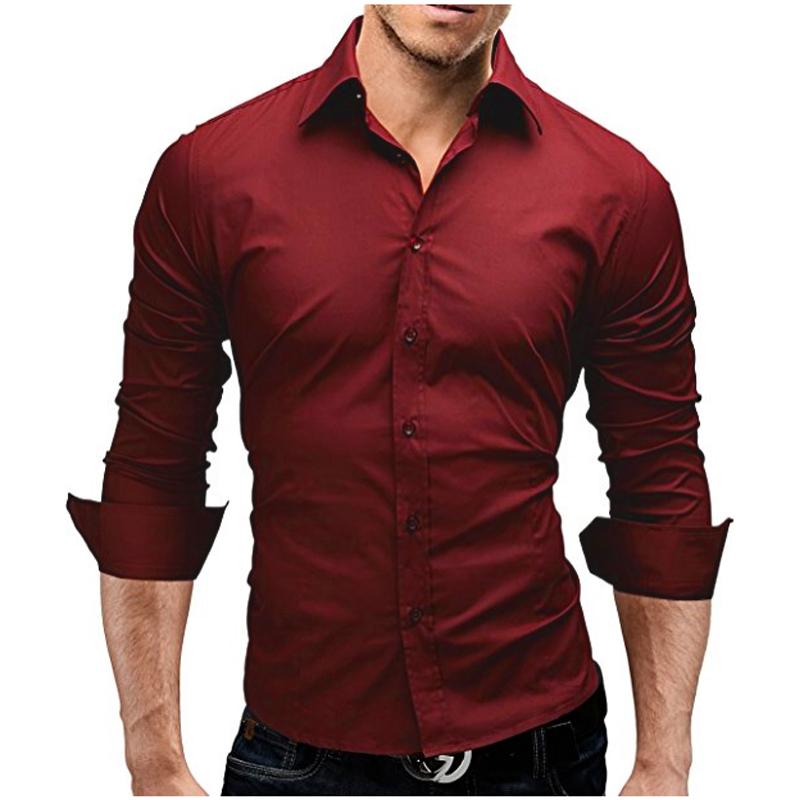 [해외]남성 셔츠 2018 봄 브랜드 비즈니스 남성 & S 슬림 피트 복장 셔츠 남성 긴팔 캐주얼 셔츠 무지 색상 Camisa Masculina 4XL/Men Shirt 2018 Spring Brand Business Men&S Slim Fit Dress Shi