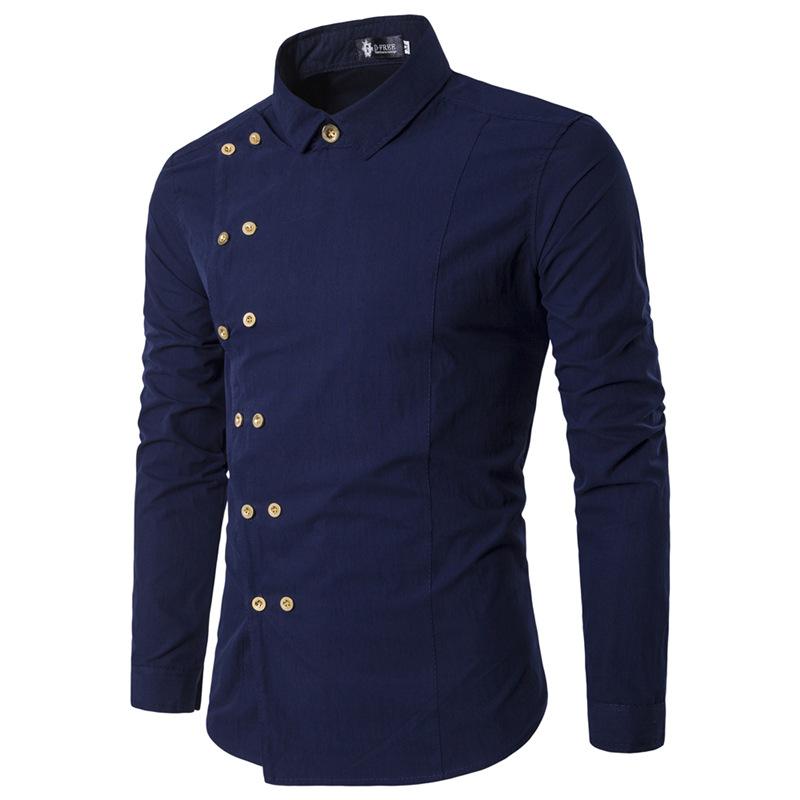 [해외]2018 신사복 브랜드 캐쥬얼 더블 브레스트 롱 슬리브 셔츠 유럽 스타일 남성복 드레스 셔츠 Camisa Masculina/2018 New Men&s Brand Shirt Fashion Casual Double Breasted Long Sleeve Shirt E