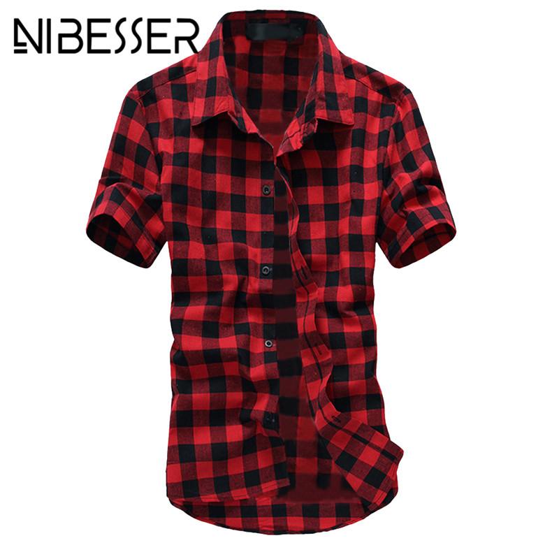 [해외]NIBESSER 3XL 격자 무늬 셔츠 남성 여름 캐주얼 반팔 티셔츠 칼라 하와이언 셔츠 Chemise Homme 남성 플러스 사이즈 셔츠 Z35/NIBESSER 3XL Plaid Shirt Men Summer Casual Short Sleeve Turn-dow