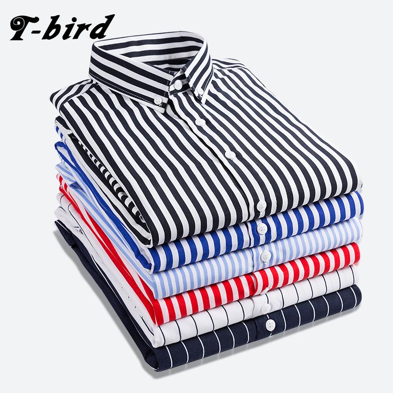 [해외]T - 버드 셔츠 남성 2018 새로운 스트 라이프 긴팔 망 드레스 셔츠 캐미 사 Masculina 봄 여름 브랜드 캐주얼 남성 셔츠 탑스 5XL/T-bird Shirt Men 2018 New Striped Long Sleeves Mens Dress Shirts