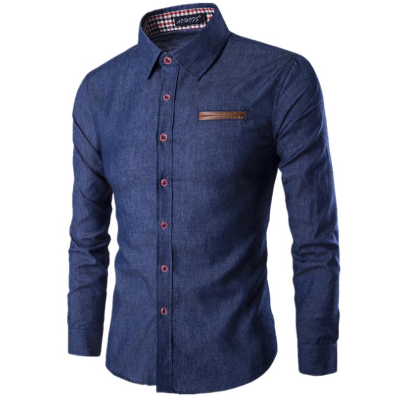 [해외]2018 새로운 패션 브랜드 남자 셔츠 주머니 싸움 가죽 드레스 셔츠 긴 Retail 슬림 맞는 Camisa Masculina 캐주얼 남성 셔츠 모델/2018 New Fashion Brand Men Shirt Pocket Fight Leather Dress Sh