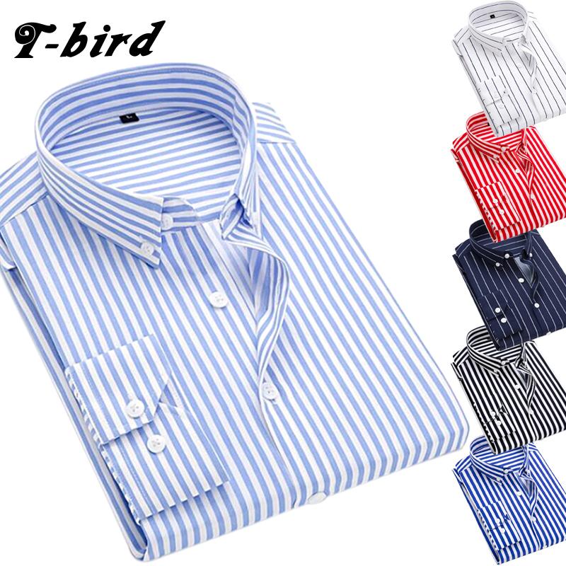 [해외]T - 버드 셔츠 남성 의류 2018 새로운 스트 라이프 긴 Retail 남자 드레스 슬림 셔츠 봄 브랜드 캐주얼 남성 셔츠 Camisa Masculina 5XL/T-bird Shirt Men Clothes 2018 New Striped Long Sleeves