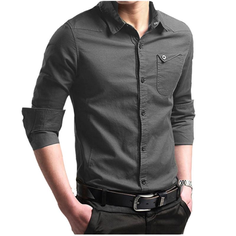 [해외]2018 뉴 브랜드 남성 셔츠 긴팔 탑 슬림 캐주얼 솔리드 컬러 비즈니스 남성 복장 셔츠 슬림 캐미 사 Masculina 4XL/2018 New Brand Male Shirt Long-Sleeves Tops Slim Casual Solid Color Busine