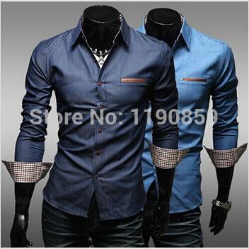 [해외]을  50PCS는 / 많은 공장 직접 패션 프로모션을 남성 35 %면 65 % 폴리 에스테르 캐주얼 데님 셔츠 공급/Freeshipping 50pcs/lot Factory directly supply fashion promotion 35% cotton 65% p