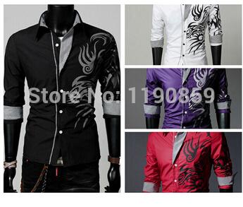 [해외]드래곤 스타일의 남성 & S 슬림 캐주얼 셔츠, polyestercotton의 소재, 4 색의 선택을 /Freeshipping new arrival dragon style men&s slim casual shirts, material of polyeste