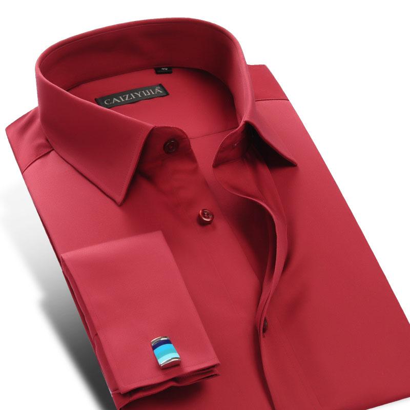 [해외]새로운 프랑스어 커프 단추 남자 드레스 셔츠 긴 Retail 빨간색 / 흰색 망 사업 셔츠 Camisa Hombre chemise homme masculina/New French Cuff Button Men Dress Shirts Long Sleeve red/w