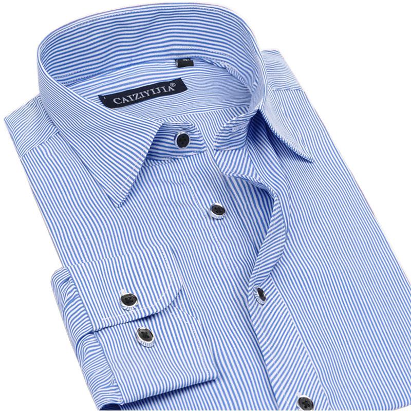 [해외]봄 / 가을 새 남성 스트라이프 드레스 셔츠 100 % 코튼 슬림 피트 공식적인 남성 의류 비 철 비즈니스 캐주얼 셔츠/Spring/Autumn New Men Striped Dress Shirts 100% Cotton  Slim Fit Formal Men Clo
