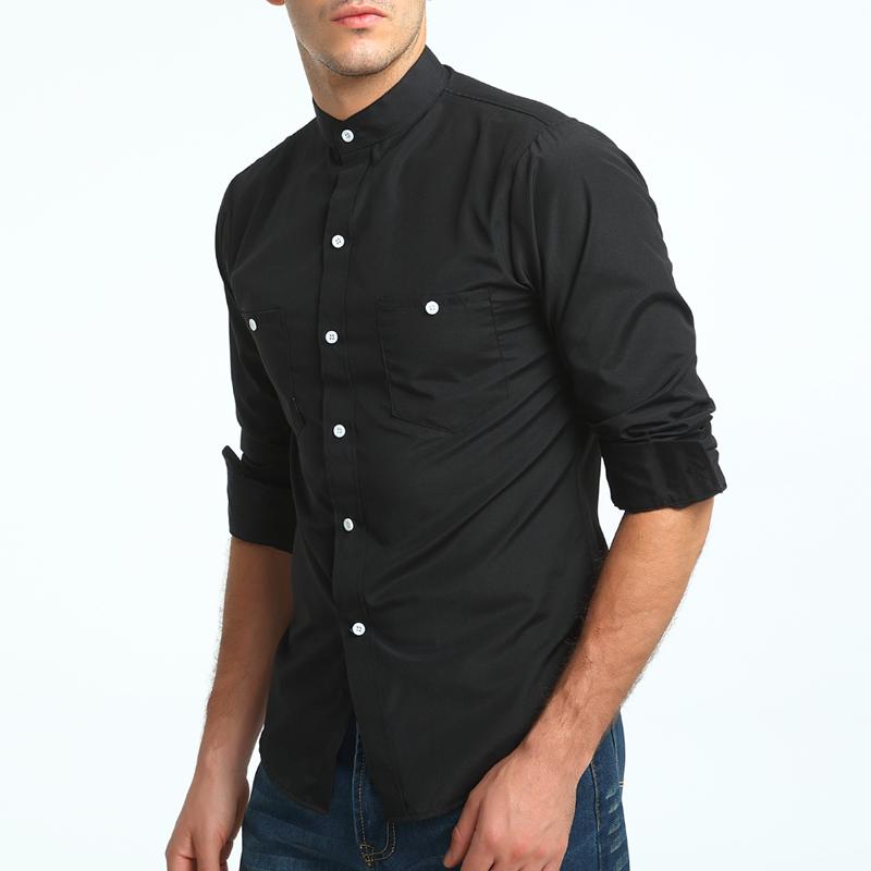 [해외]브랜드 2017 패션 남성 셔츠 긴 Retail 탑 영국 스탠드 칼라 솔리드 컬러 셔츠 망 드레스 셔츠 슬림 남성 셔츠/Brand 2017 Fashion Male Shirt Long-Sleeves Tops British Stand Collar Young Soli