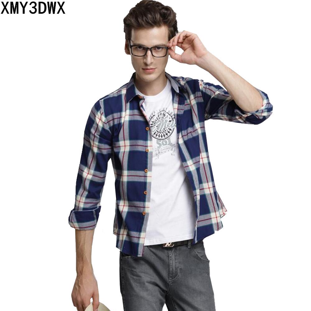 [해외]2017 새로운 패션 가을 남자 & s 슬림 맞는 긴 Retail 셔츠 남성 격자 무늬 면화 캐주얼 셔츠 18 색상 Camisas 드레스 셔츠/2017 New Fashion Autumn Men&s Clothes Slim Fit Long Sleeve Shi