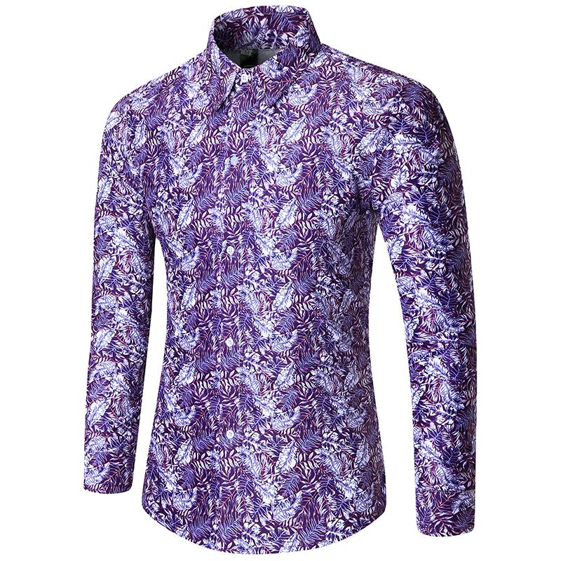 [해외]브랜드 2018 패션 남성 셔츠 긴 Retail 탑 패션 캐주얼 루즈 인쇄 망 드레스 셔츠 슬림 남성 셔츠 2XL/Brand 2018 Fashion Male Shirt Long-Sleeves Tops Fashion Casual Loose Printing Mens