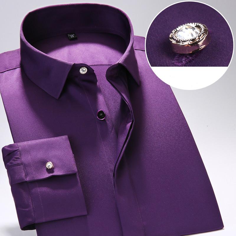 [해외]긴 Retail 슬림 피트 남성 드레스 셔츠 클래식 스타일 비즈니스 공식 셔츠 아름다운 버튼 아시아 크기 S-4XL/Long Sleeve Slim Fit Men Dress Shirts Classic Style  Business Formal ShirtBeautif