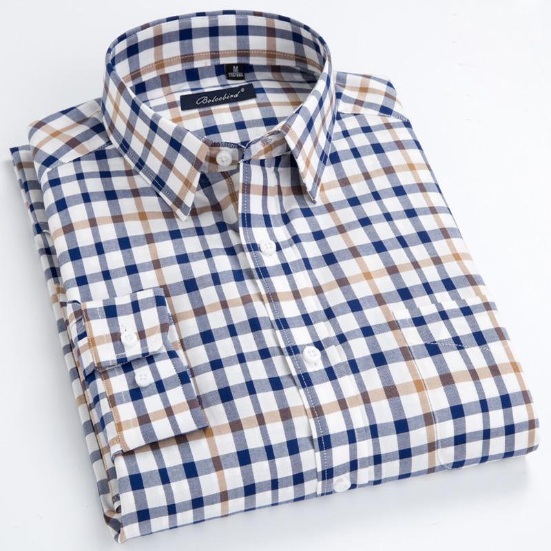 [해외]남성 단추 다운 드레스 셔츠 왼쪽 가슴 주머니 편안하고 부드러운 100 % 코튼 스마트 캐주얼 슬림핏 대비 미니 체크 무늬 셔츠/Mens Button-down Dress ShirtLeft Chest Pocket Comfy Soft 100% Cotton Smart