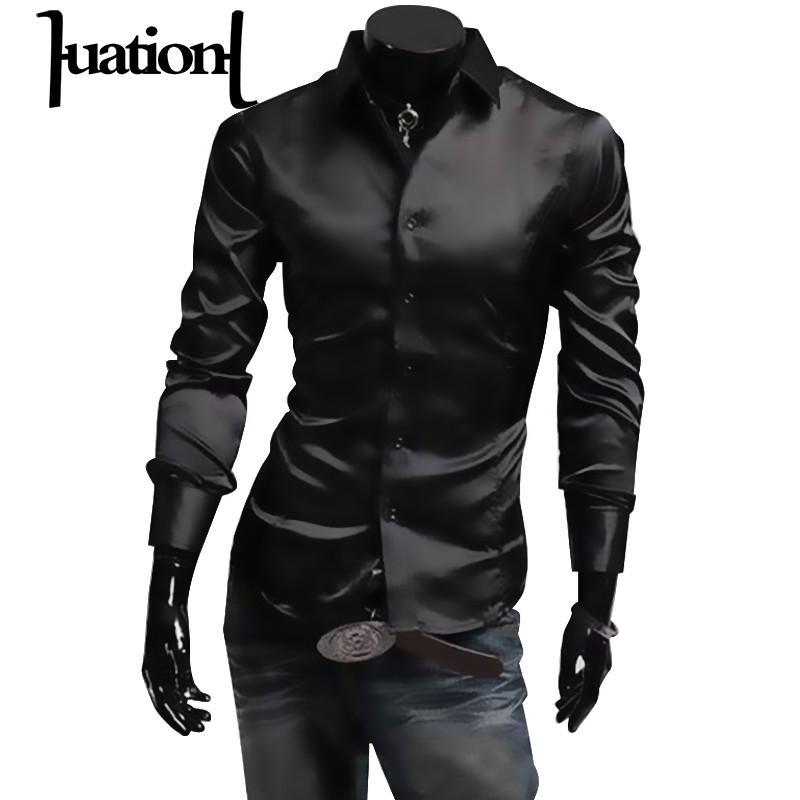 [해외]Huation Mens Silk Shirt 2018 패션 브랜드 남자 & 긴 Retail 셔츠 남자 camisa social masculina 캐주얼 블랙 남자 드레스 셔츠/Huation Mens Silk Shirt 2018 Fashion Brand Me