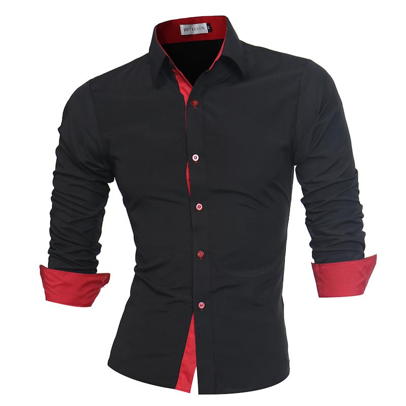 [해외]남자 셔츠 브랜드 2018 남성 긴 Retail 셔츠 캐주얼 슬림 맞는 블랙 맨 드레스 셔츠 플러스 사이즈 4XL/Men Shirt Brand 2018 Male  Long Sleeve Shirts Casual Slim Fit Black Man Dress Shir