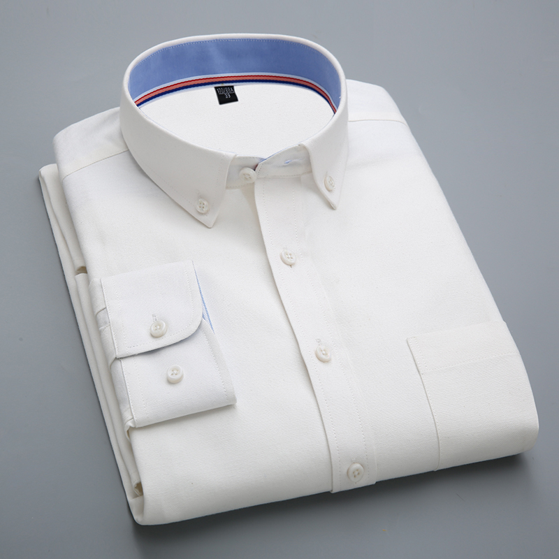 [해외]남성용 긴팔 무지 옥스포드 베이직 드레스 셔츠 왼발 가슴 포켓 남성 스마트 캐주얼 슬림 피트 단추 탑 워크 셔츠/Men&s Long-Sleeve Solid Oxford Basic Dress ShirtsLeft Chest Pocket Male Smart Casua
