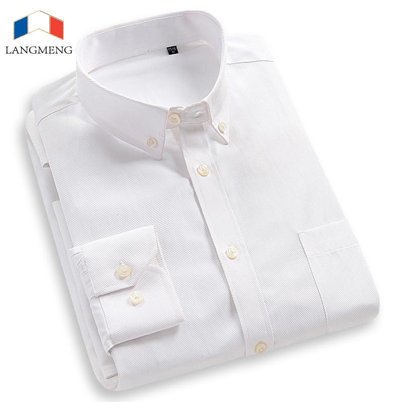[해외]LANGMENG New Arrival 2018 비즈니스 셔츠 Mens 브랜드 Long Sleeve Striped Twill Men 드레스 셔츠 White Male Shirts Size XS-7XL/LANGMENG New Arrival 2018 Business S