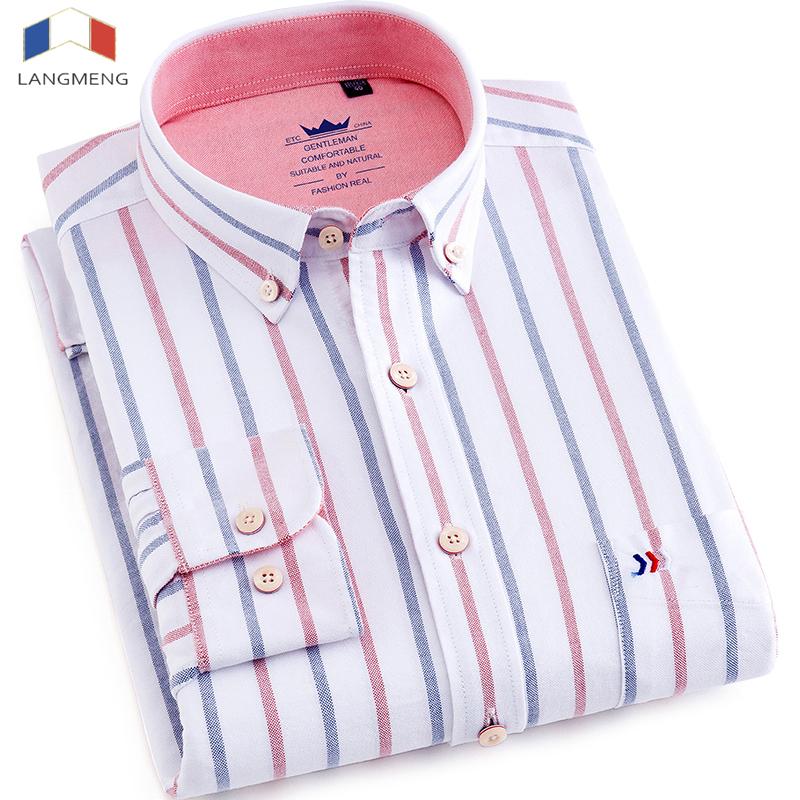 [해외]Langmeng 백퍼센트 면화 옥스포드 셔츠 남자 드레스 셔츠 사무실 사업 사회 망 스트 라이프 셔츠 브랜드 의류 긴 Retail 카미 사/Langmeng 100% cotton oxford shirt men dress shirts office business s