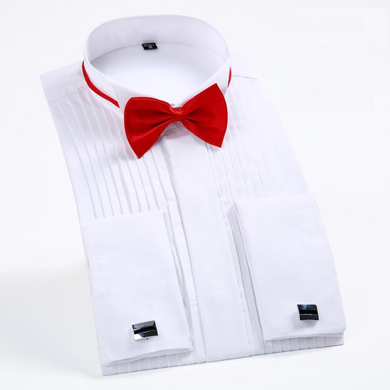 [해외]남자 & 턱시도 셔츠 프랑스 커프스와 활 타이 1 / 4 & Pleats 긴 Retail 흰색 웨딩 칵테일 파티 파티 이브닝 ??드레스 셔츠/Men&s Tuxedo ShirtsFrench Cuffs and Bow Tie 1/4& Pleats Lon