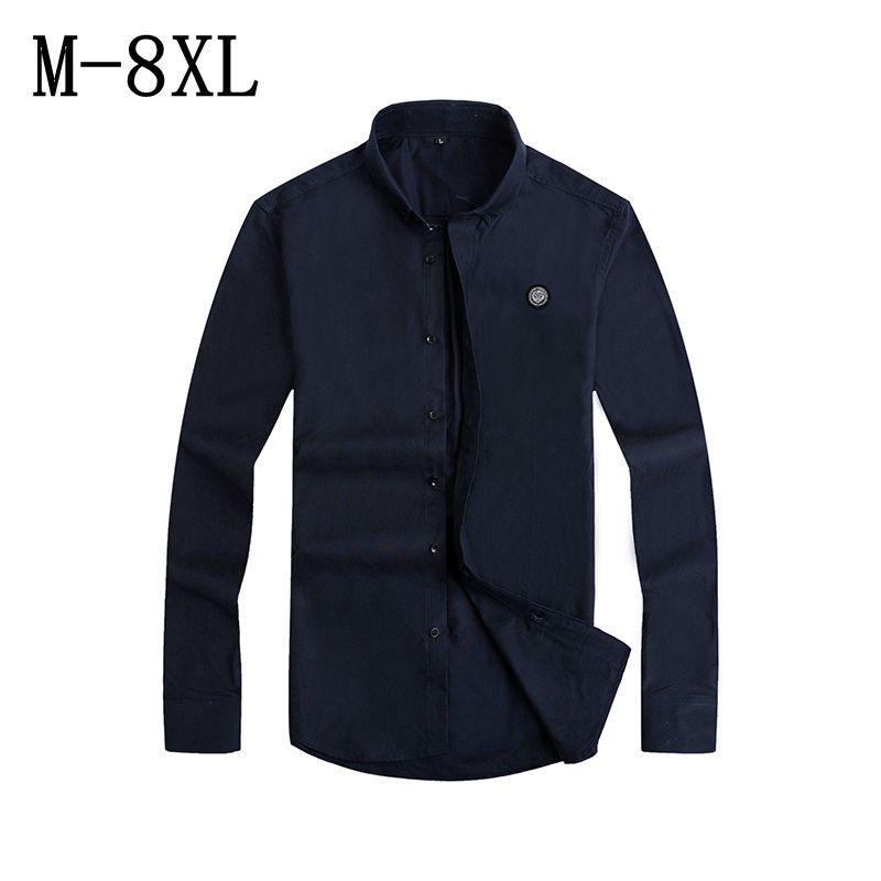 [해외]남자 & s의 100 % 코튼 옥스포드 드레스 셔츠 긴 Retail 비즈니스 단색 남자 셔츠 Camisa 사회 Masculina 크기 7XL 8XL/Men&s 100% Cotton Oxford Dress Shirt Long Sleeve Business S