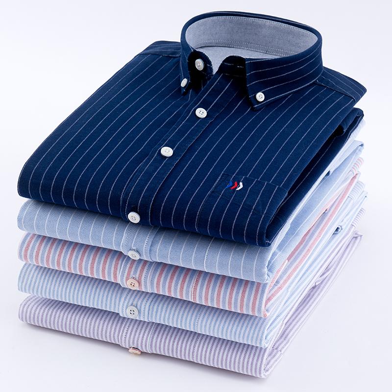 [해외]남자 & 옥스포드 100 % 코튼 패션 스트라이프 캐주얼 긴 Retail 셔츠 복고풍 스타일 디자인 남성 & s 복장 셔츠 블라우스/Men&s Oxford 100% Cotton Fashion Stripe Casual Long Sleeve Shirt