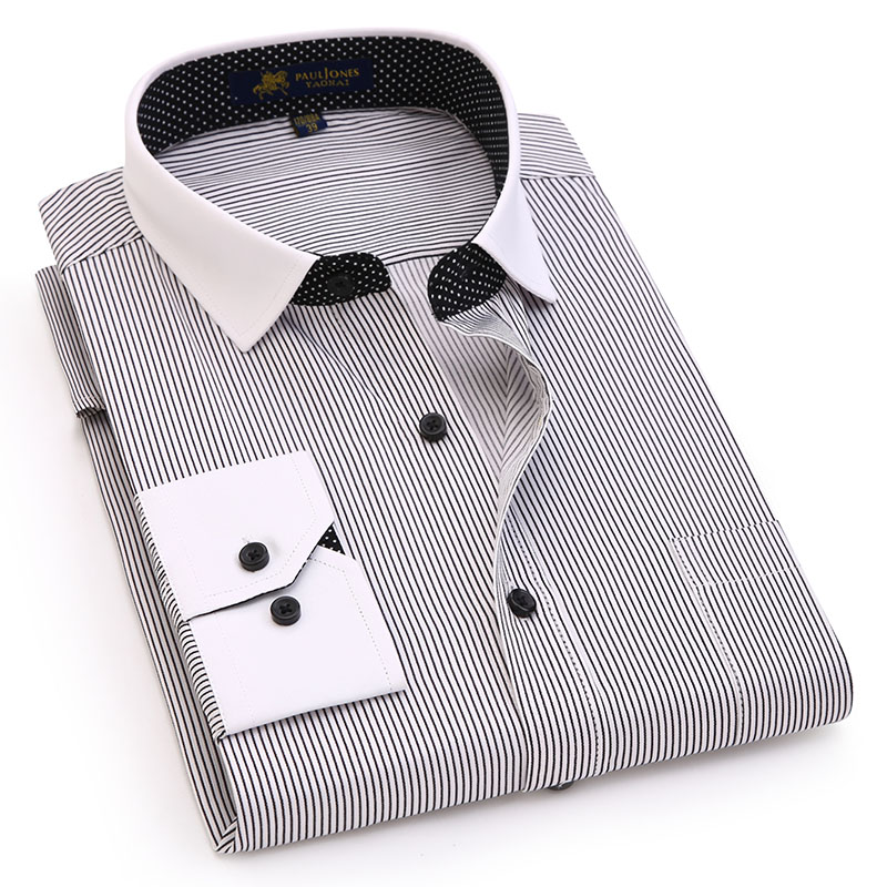 [해외]남성 긴 Retail 대비 칼라 셔츠 비 철 비즈니스 정장 착용 브랜드 남성 드레스 셔츠 남성 캐주얼 셔츠/Mens Long Sleeve Contrast Collar Shirt Non Iron Business Formal Wear Brand Men Dress S