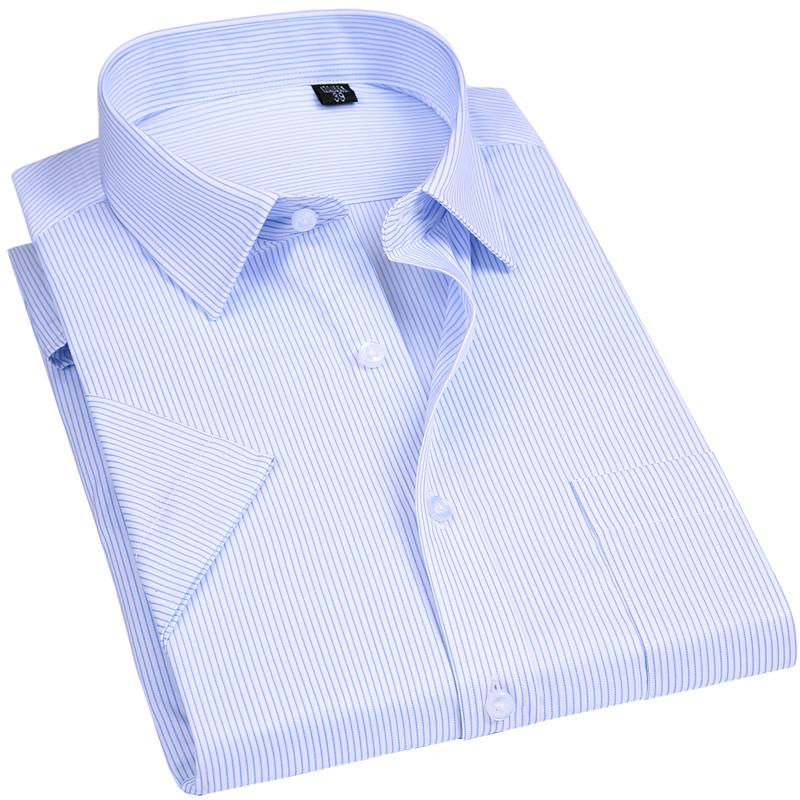 [해외]남성 100 % 코튼 비 - 아이언 드레스 셔츠 반Retail 새로운 단색 남성 의류 맞는 비즈니스 셔츠 블루 스트라이프/Men 100% Cotton  Non-ironing Dress Shirt Short  Sleeve New Solid Male Clothing