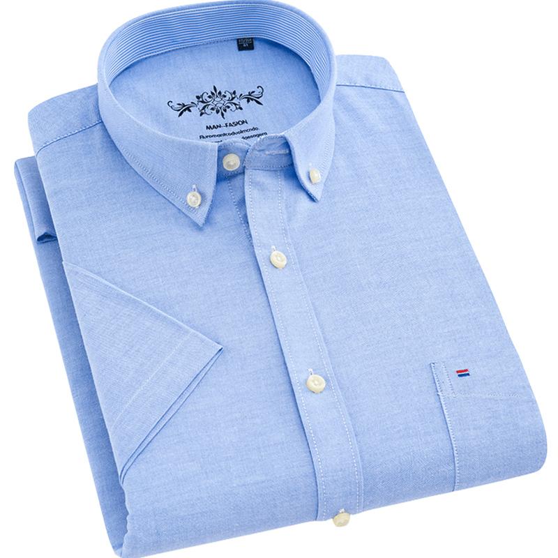 [해외]2018 년 여름 반팔 옥스포드 남성 복장 셔츠 비 다리미 70 % 커튼 버튼 다운 칼라 비즈니스 캐주얼 남성 탑/2018 Summer Short Sleeve Oxford Men Dress Shirts Non-iron  70% Cotton Button-down