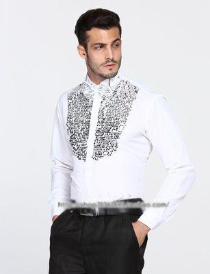 [해외] 흰색 무대 장식 조각 장식 망은 셔츠 파티 / 웨딩 셔츠 턱시도/Free shipping white stage sequins decoration mens tuxedo shirts party/wedding shirts
