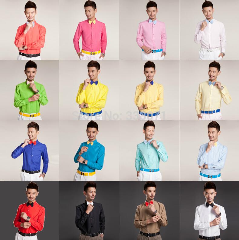 [해외]뜨거운 새로운 16 화려한 - 긴팔 남성 셔츠 웨딩 / 댄스 파티 신랑 셔츠 착용 신랑 맨 파티 셔츠 (39-44)/Hot New 16 Colorful Long-sleeved Men Shirt Wedding/Prom Groom Shirts Wear Bridegr