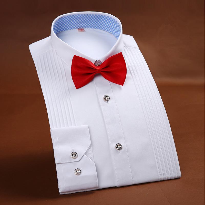 [해외]2017 브랜드 Mens 옷 프랑스 스타일 웨딩 턱시도 셔츠 Mens 드레스 셔츠 신랑 긴 Retail 셔츠/2017 New Arrival  Brand Mens Clothes French Style Wedding Tuxedo Shirt Mens Dress Shi