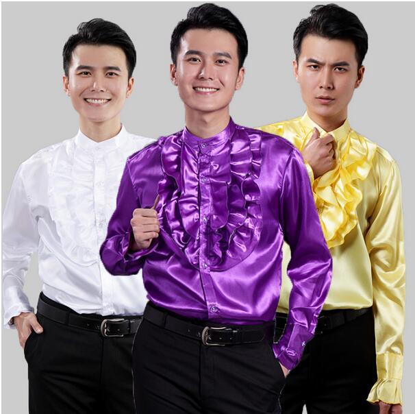 [해외]2016 남자 & 드레스 남자 스팽글 긴 Retail 셔츠 쇼 드레스 코러스 맥 호텔 Ktv 드레스 셔츠 화이트 퍼플 골든/2016 men&s Dress Men Sequined Long Sleeve Shirts The Show The Dress Choru