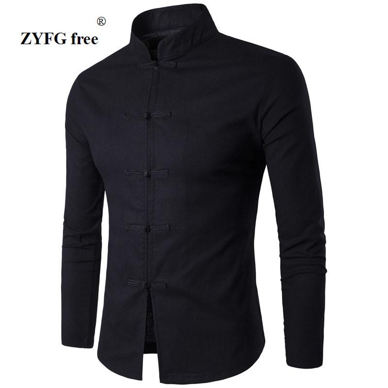 [해외]남자 셔츠 면화 어 전통 스타일 2017 남성 단색 만다린 칼라 비즈니스 긴 Retail 캐주얼 셔츠/Men Shirt Cotton Chinese Tradition Style 2017 New Arrival Male Solid Color Mandarin Colla