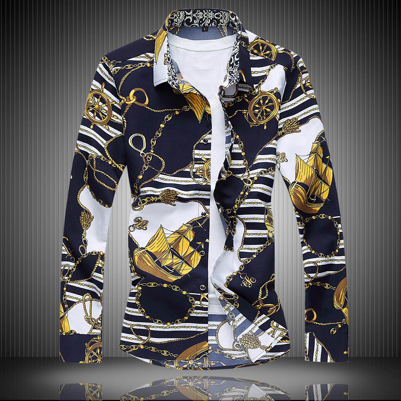 [해외]남성 & s - 긴팔 꽃 무늬 셔츠, 나이트 클럽 Men 's s Nightclubs Tide Men & s 긴팔 블라우스 대형 남성 비즈니스 셔츠/Men&s long-sleeved floral shirt , Nightclub Men &s