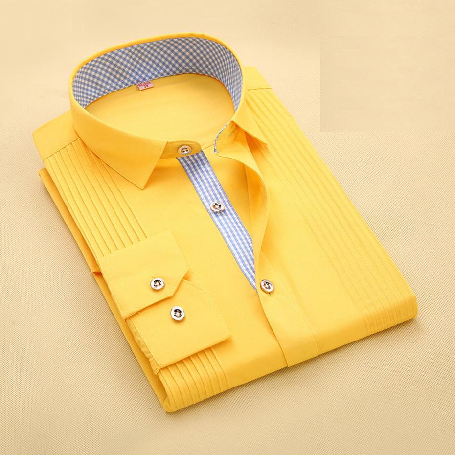 [해외]남성 의류 패션 솔리드 컬러 새 여름 봄 브랜드 셔츠 슬림 피트 캐주얼 복장 셔츠 긴 Retail Masculina 옐로우 1803/Men&s Clothing Fashion Solid Color New Summer Spring Brand Shirt Slim Fi