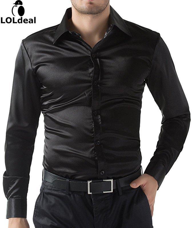 [해외]남성 캐주얼 셔츠 비즈니스 캐주얼 부로 스파클 새틴 슬림핏 장착 신규/Men&s Shirt Shirts Business Casual Buro Sparkle Satin Slimfit Fitted New