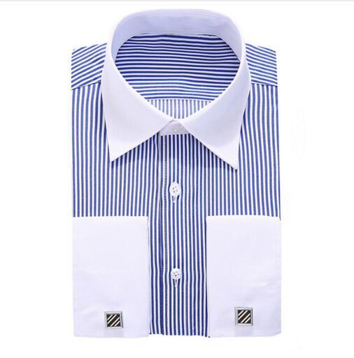 [해외]새 커프스 단추 셔츠 네일 슬리브 핫 브랜드 남성 & s 스트 라이프 정장 웨딩 드레스 브랜드 긴 Retail 셔츠 남자 플러스 크기 S5xl 6xl/new cufflinks shirt  Nail sleeve  hot Brand  Men&s Striped