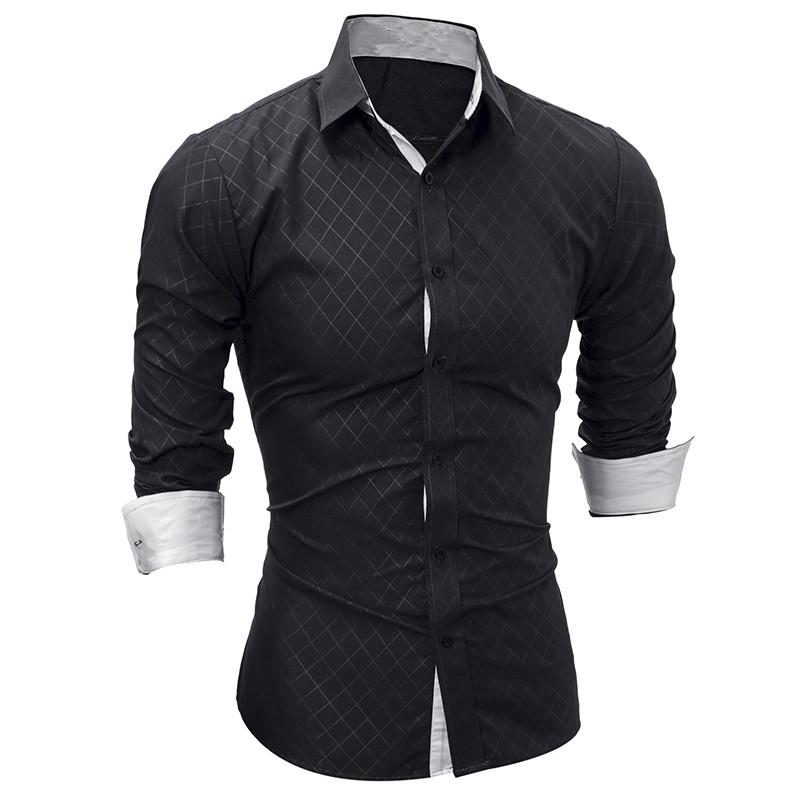 [해외]새로운 남성 긴 Retail 캐주얼 셔츠 패션 턱시도 셔츠 솔리드 컬러 슬림 맞는 블랙 망 드레스 셔츠 Camisa Social Masculina/New Men Long Sleeve Casual Shirt Fashion Tuxedo Shirt Solid Colo
