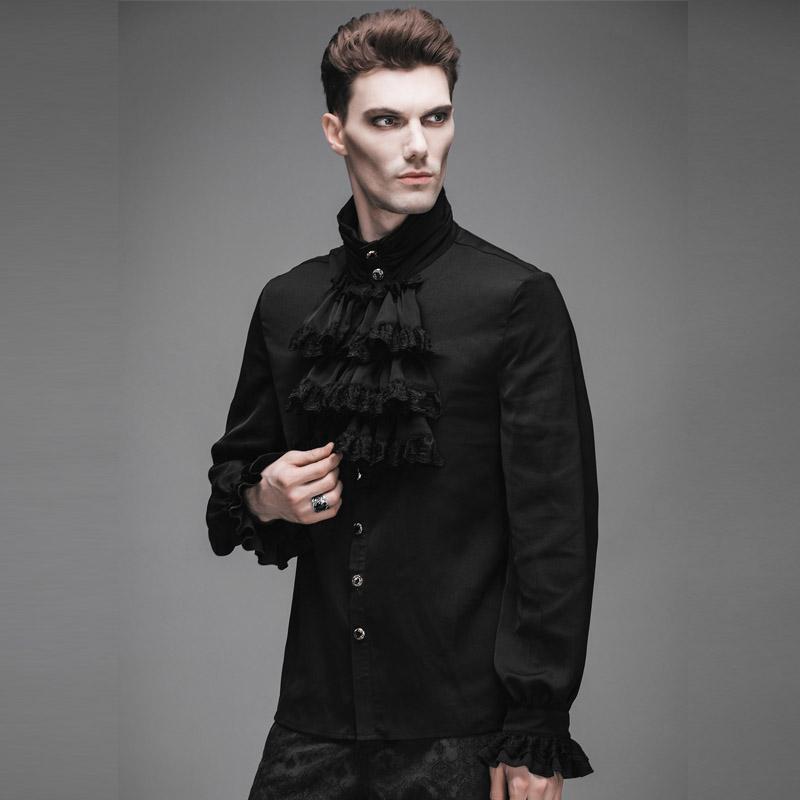 [해외]Steampunk 스타일 남자 셔츠 고딕 패션 참신 단일 브레스트 쉬폰 롱 슬리브 남성 블랙 셔츠/Steampunk Style Men Shirt Gothic Fashion Novelty Single Breasted Chiffon Long Sleeve Male B